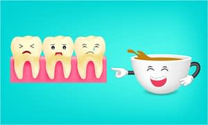coffee laughing at stained teeth